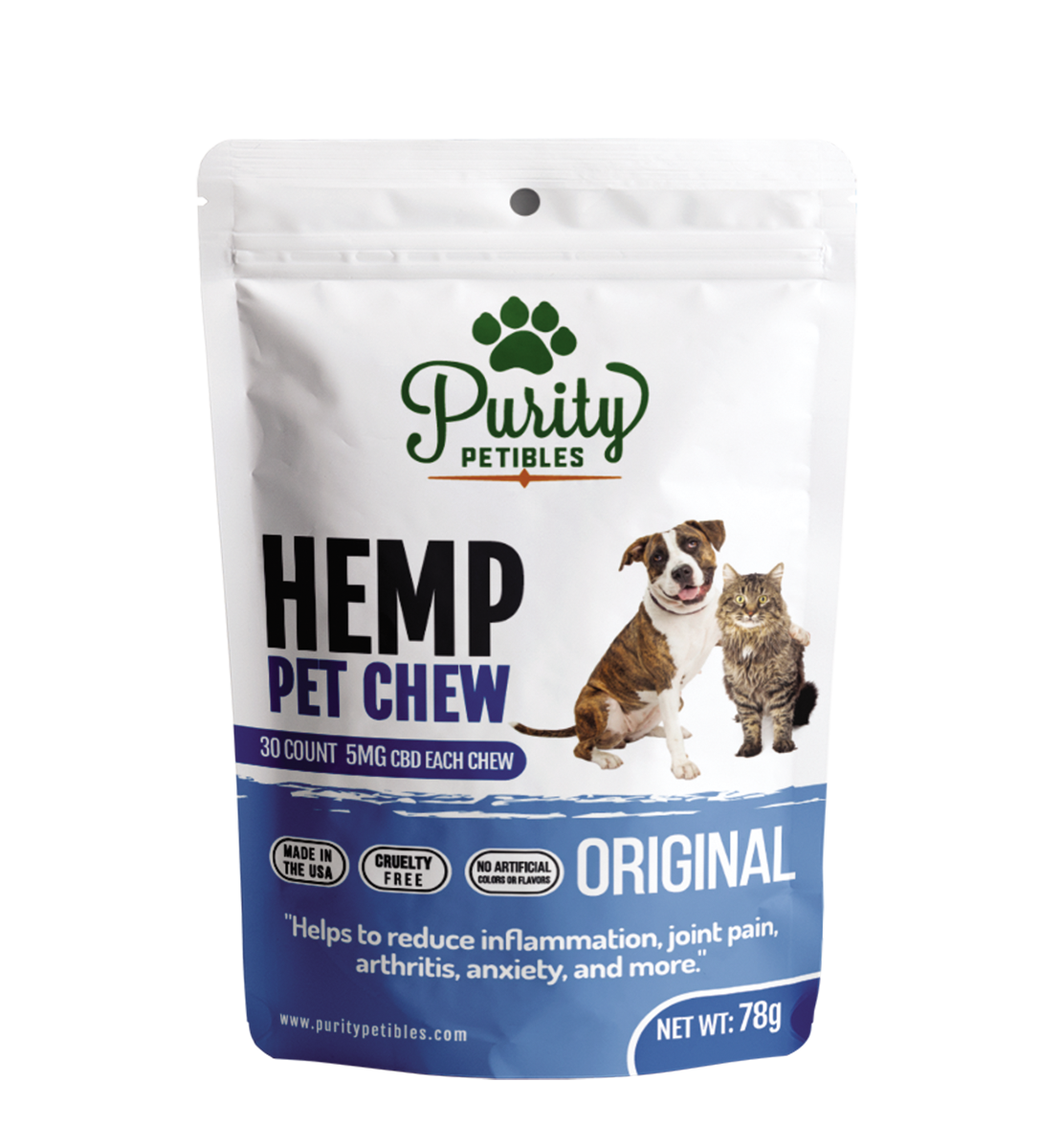HEMP PET TREATS 150MG Purity Petibles