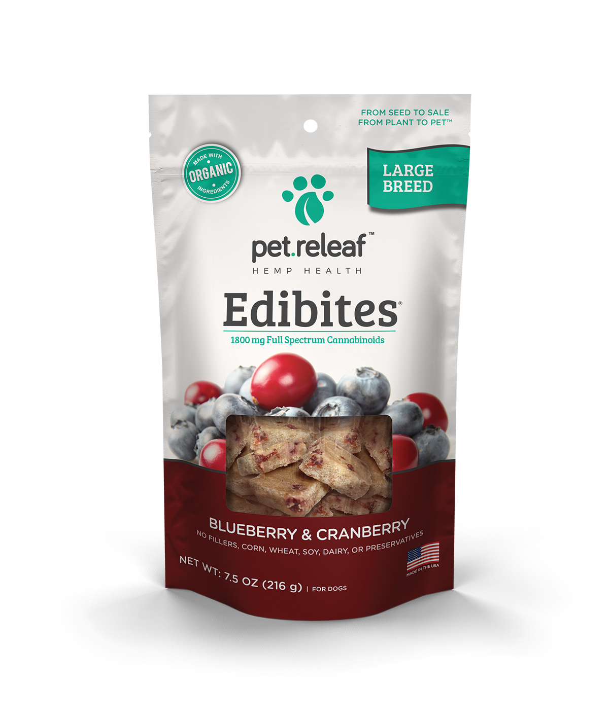 Large Breed CBD Dog Treats – Blueberry Cranberry Edibites Elixinol
