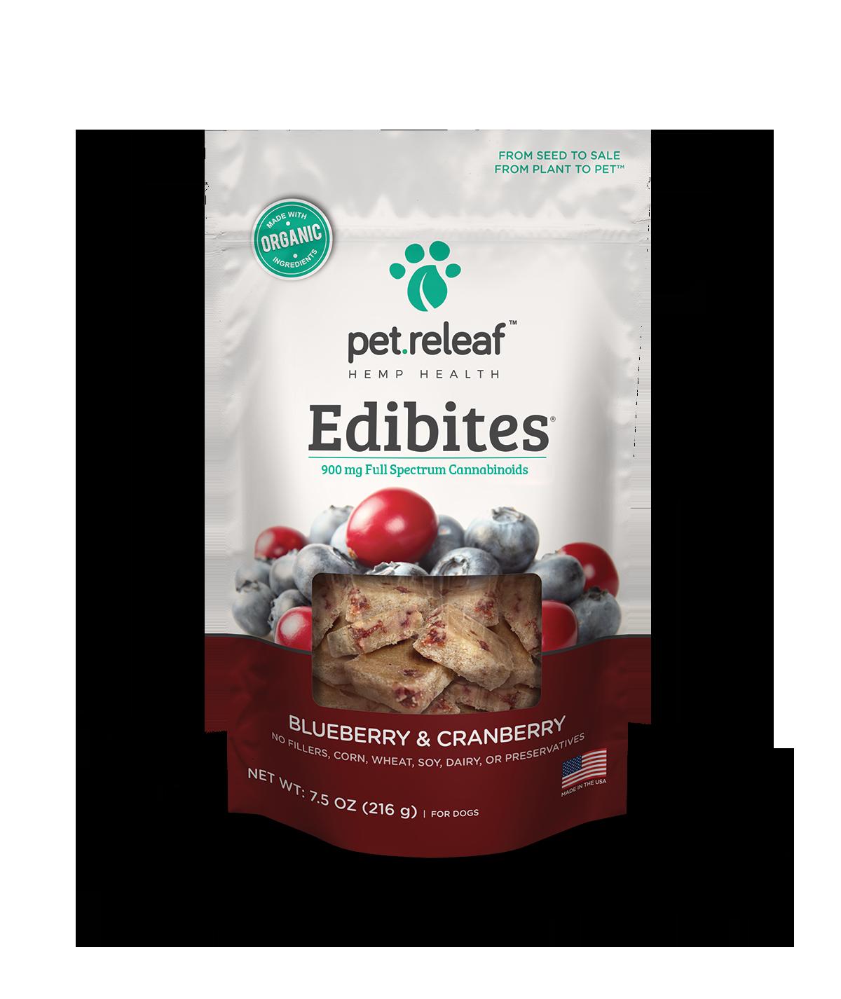 CBD Dog Treats – Hemp Oil Edibites with Blueberry & Cranberry Elixinol