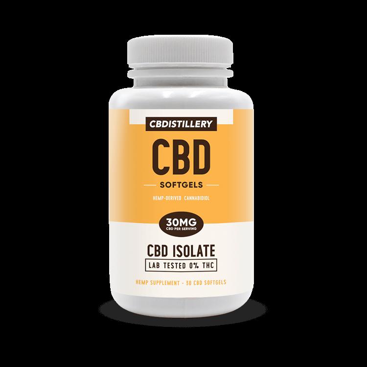 THC Free CBD Isolate Softgels – 30mg – 30 Count CBDistillery