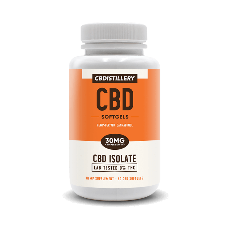 THC Free CBD Isolate Softgels – 30mg CBD – 60 Count CBDistillery