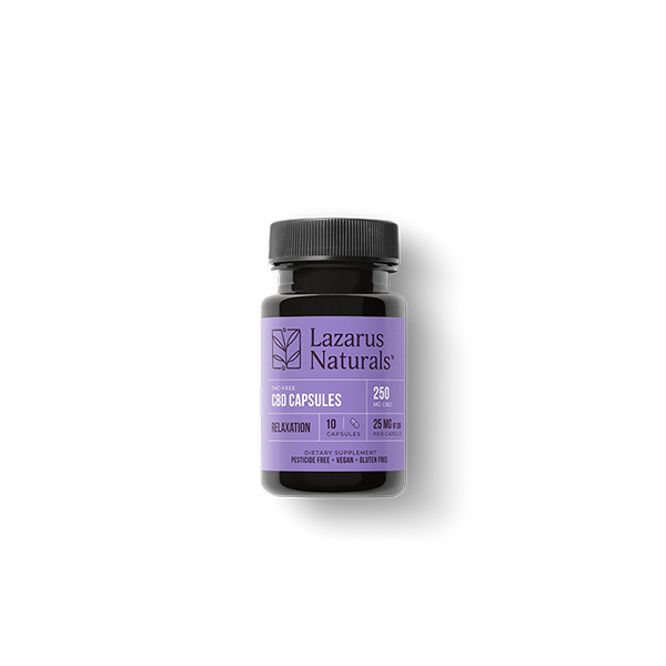 Relaxation Blend 25mg CBD Isolate Capsules Lazarus Naturals