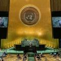 Le chef de la diplomatie de la Russie, Sergueï Lavrov, à la tribune de l'Assemblée générale de l'ONU, après une conférence de presse au siège de l'Organisation à New York, le 25 septembre 2021.