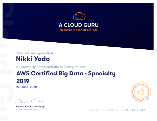 AWS Certified Big Data - Specialty 2019