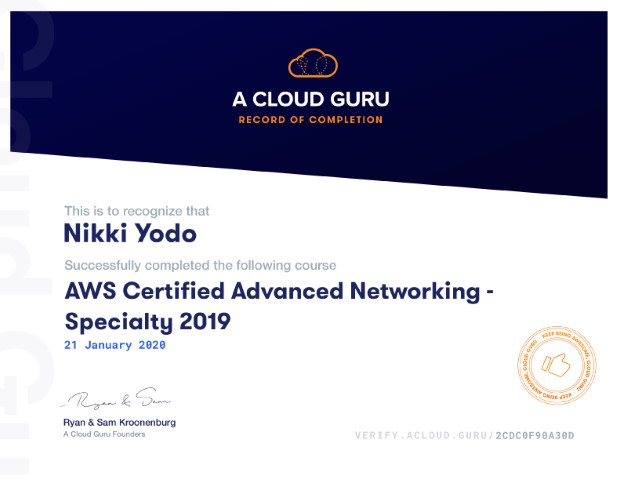 AWS Certified Advanced Networking - Specialty 2019