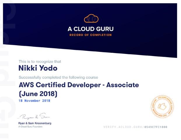 Certified Developer - Associate (June 2018)