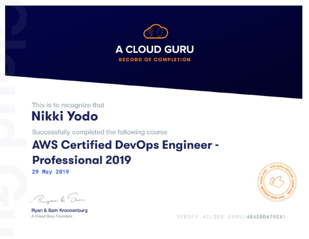 AWS Certified DevOps Engineer Professional 2019