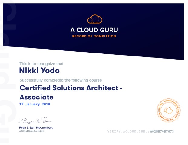 Certified Solutions Architect Associate