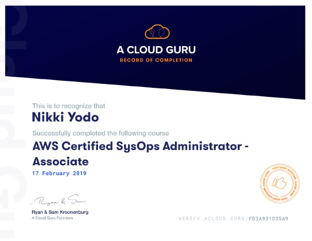 Certified SysOps Administrator Associate