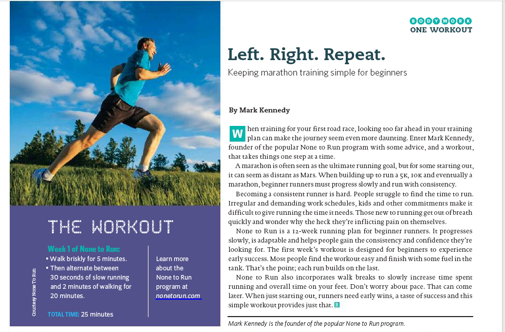 None To Run Was Recently Featured In Canadian Running Magazine
