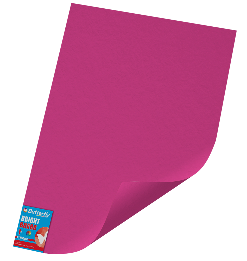 A1 Bright Board - 160gsm Single Unwrapped Pink