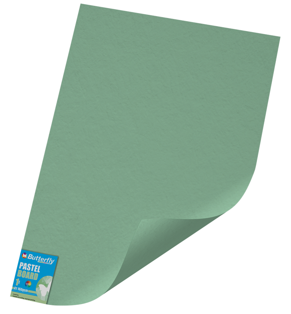 A1 Pastel Board - 160gsm Single Unwrapped Green