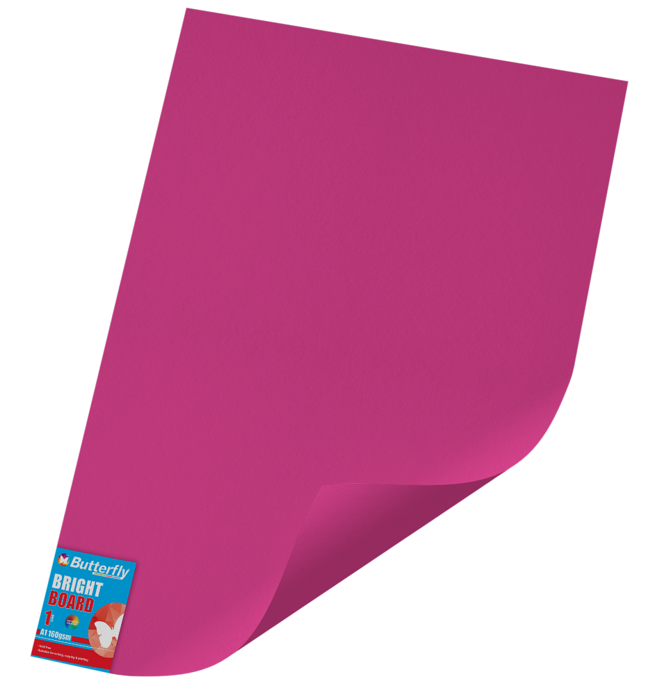 A1 Bright Board - 160gsm Single Wrapped Pink