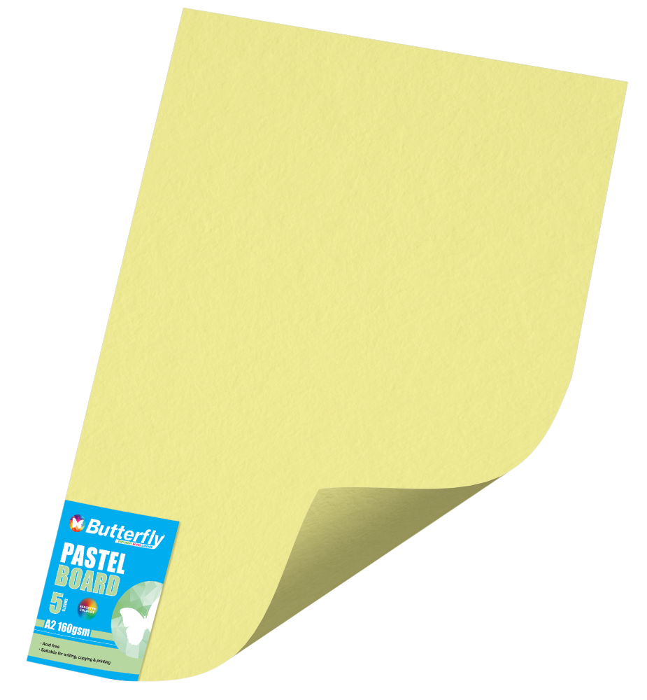 A2 Pastel Board - Pack of 5 Yellow