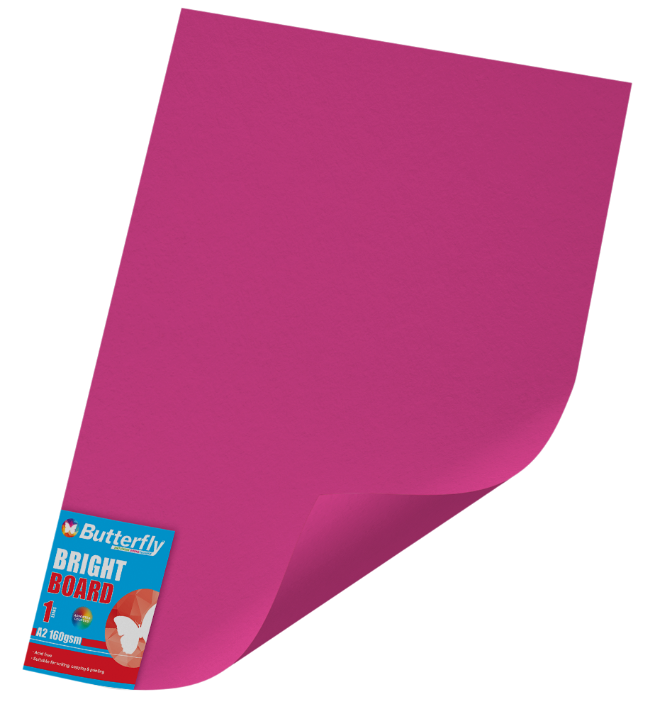 A2 Bright Board - 160gsm Single Pink