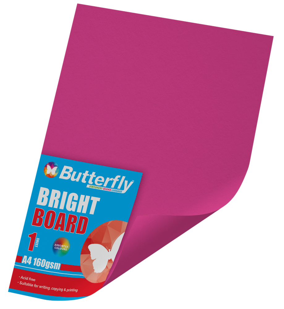A4 Bright Board - 160gsm Single Pink