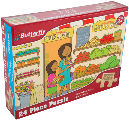 Butterfly A4 Wooden Puzzle - 24 Pieces (You get 1 of 6 Designs)