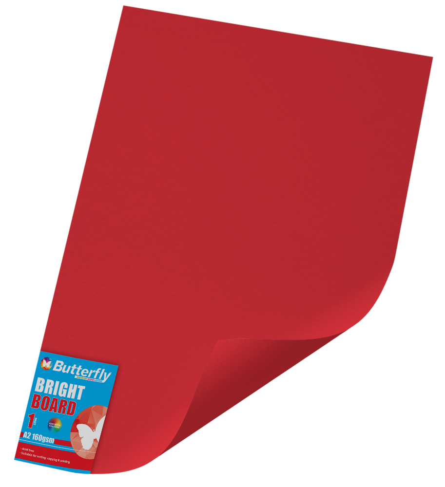 A2 Bright Board - 160gsm Single Red