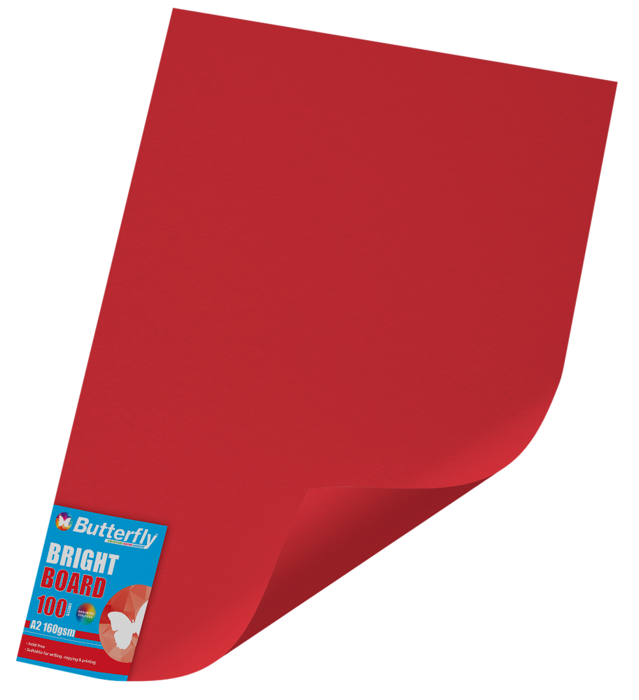 A2 Board Bright - Pack of 100 Red