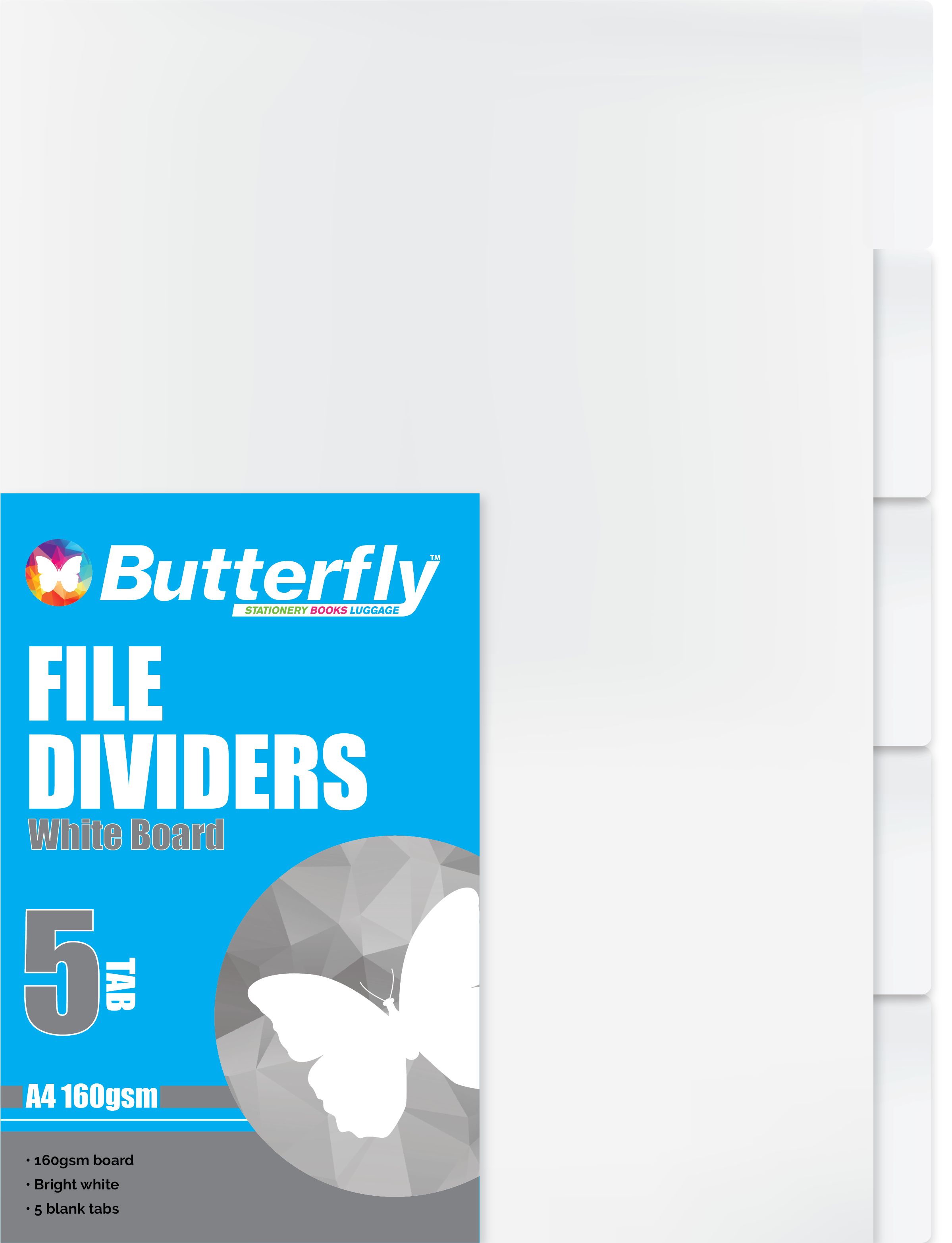 A4 File Dividers White Board - 5 Tab