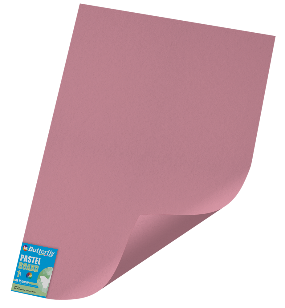 A1 Pastel Board - 160gsm Single Wrapped Pink