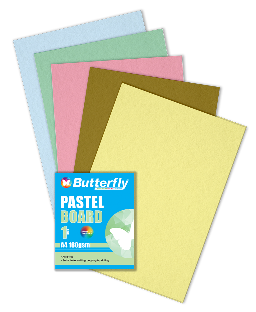 Assorted A4 Pastel Board - 160gsm Singles Wrapped