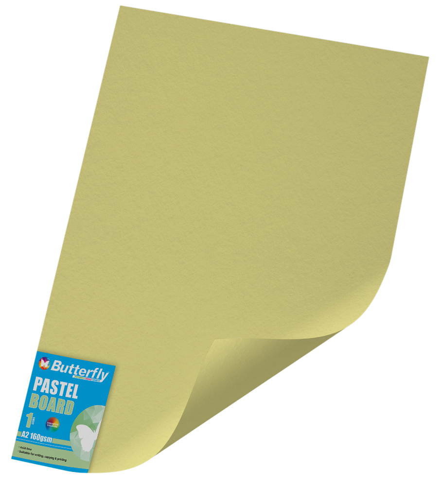 A2 Pastel Board - 160gsm Single Wrapped Yellow