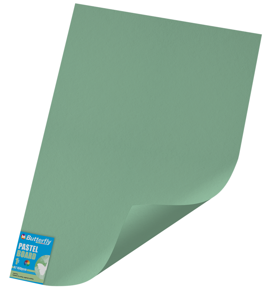 A1 Pastel Board - 160gsm Single Wrapped Green