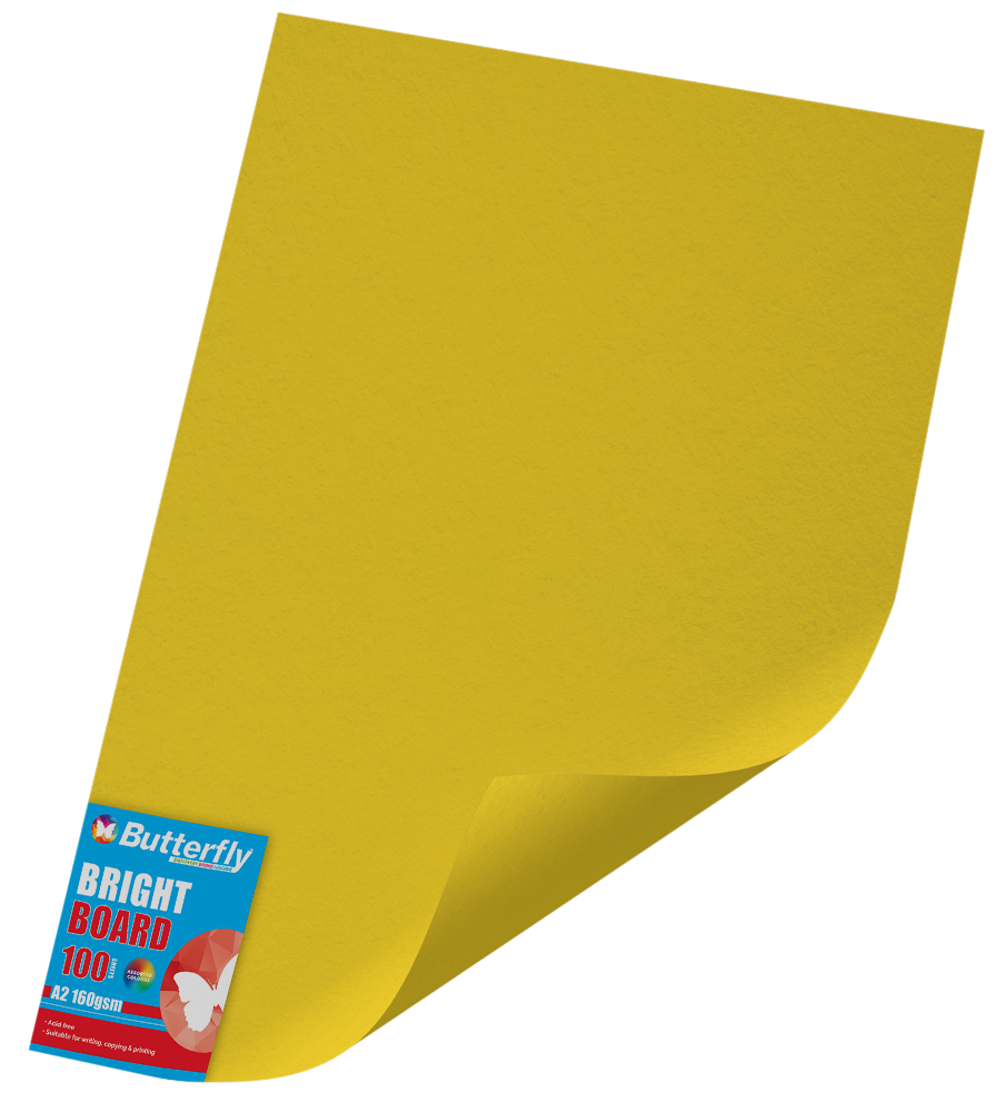 A2 Board Bright - Pack of 100 Yellow