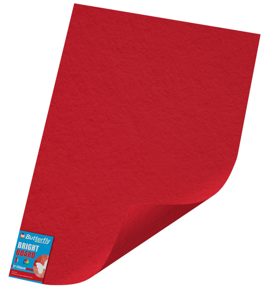 A1 Bright Board - 160gsm Single Unwrapped Red