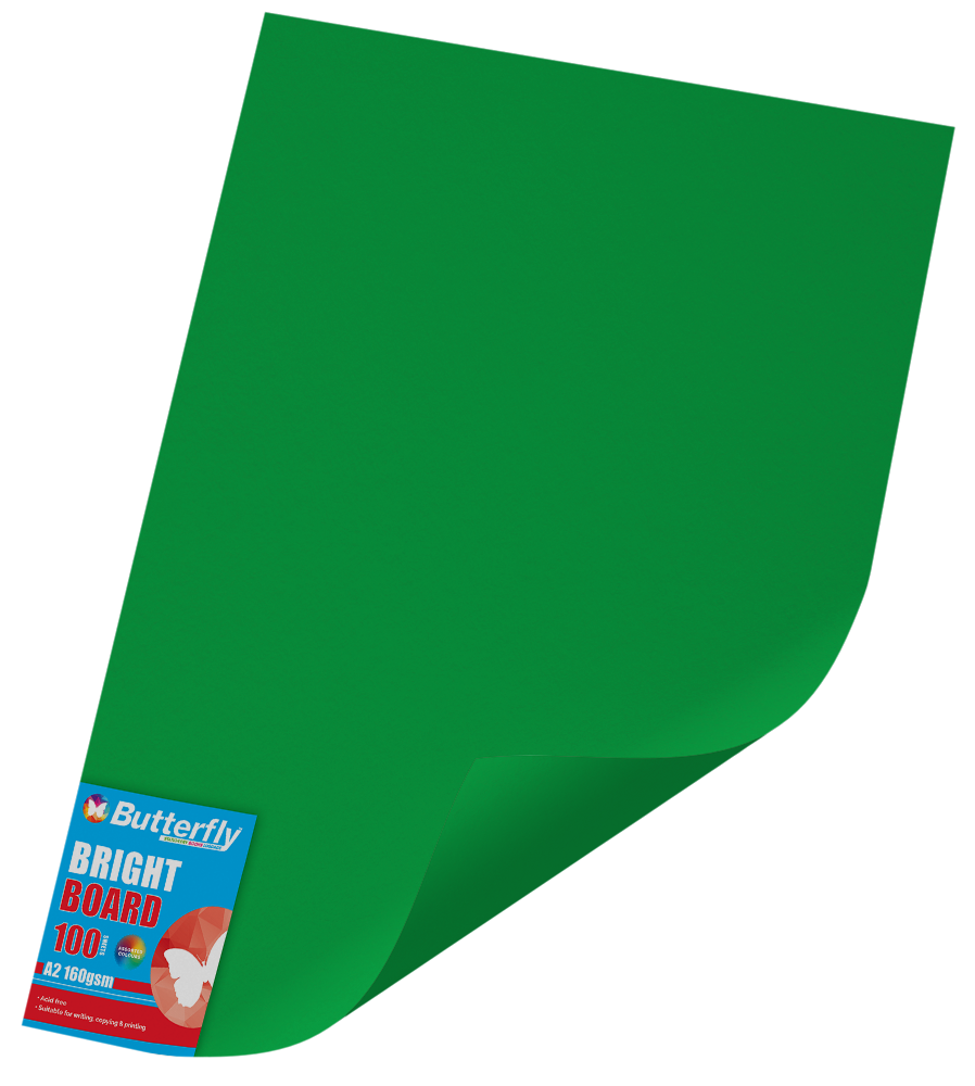 A2 Board Bright - Pack of 100 Green