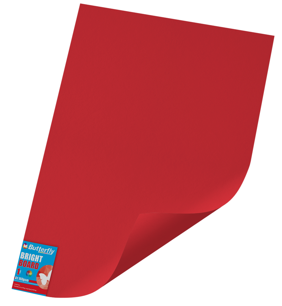 A1 Bright Board - 160gsm Single Wrapped Red