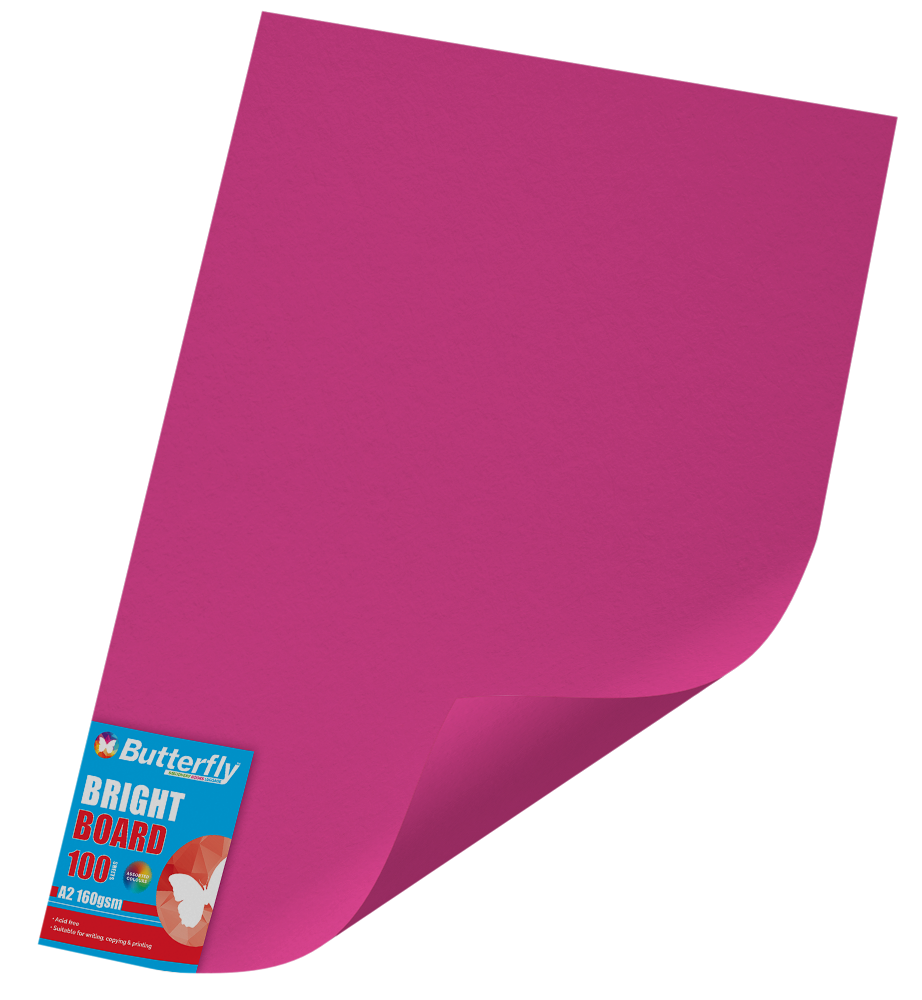 A2 Board Bright - Pack of 100 Pink