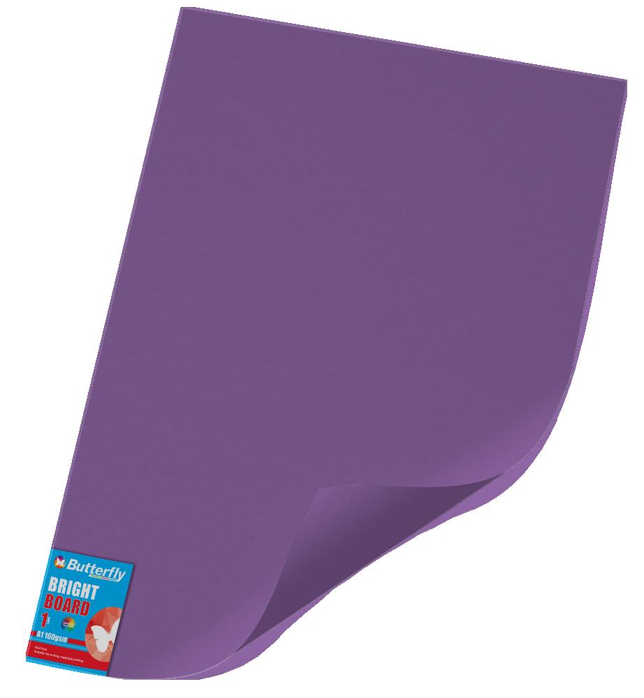 A1 Bright Board - 160gsm Single Unwrapped Purple