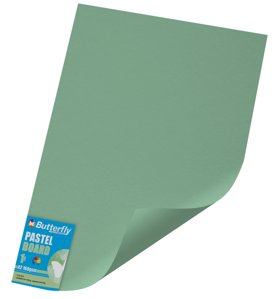 A2 Pastel Board - 160gsm Single Wrapped Green