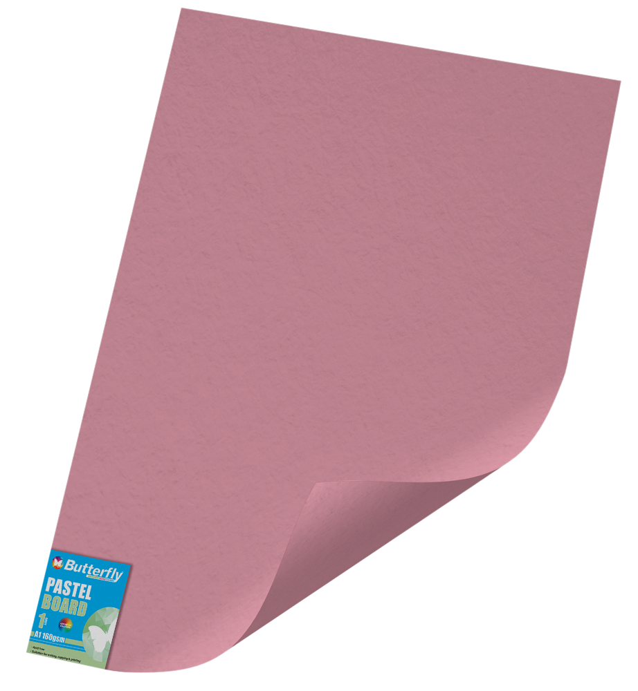 A1 Pastel Board - 160gsm Single Unwrapped Pink