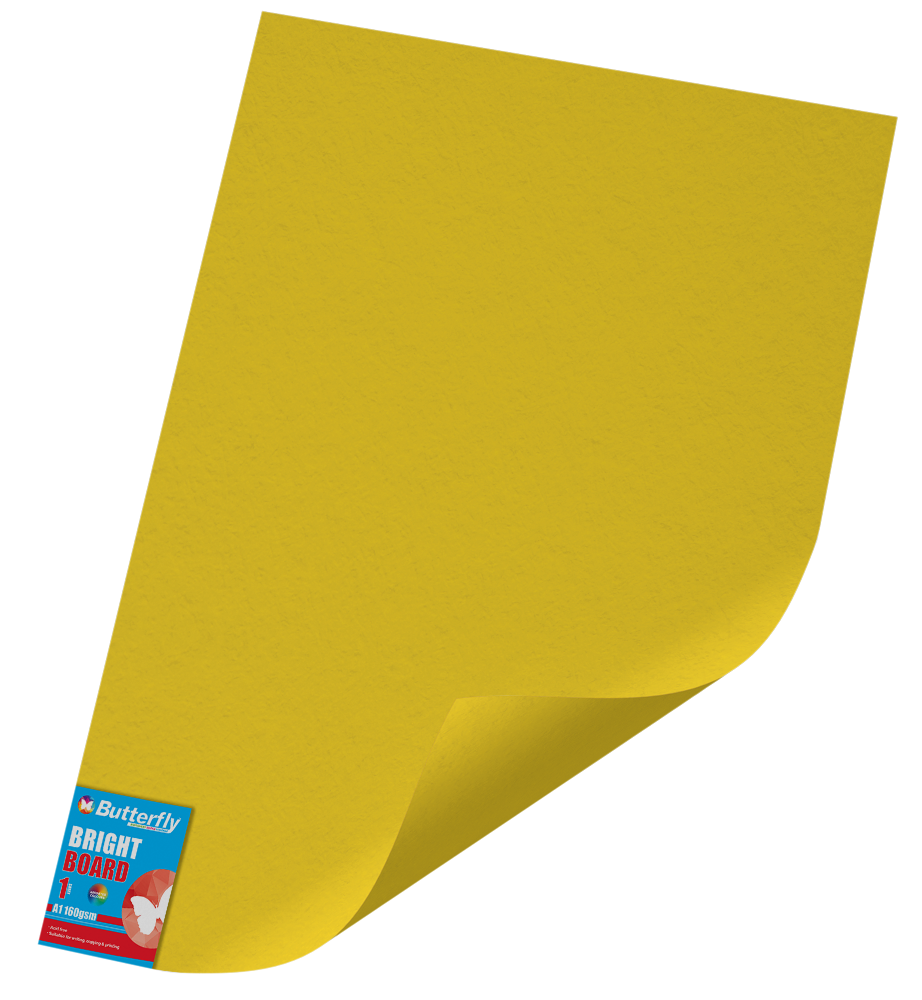 A1 Bright Board - 160gsm Single Unwrapped Yellow