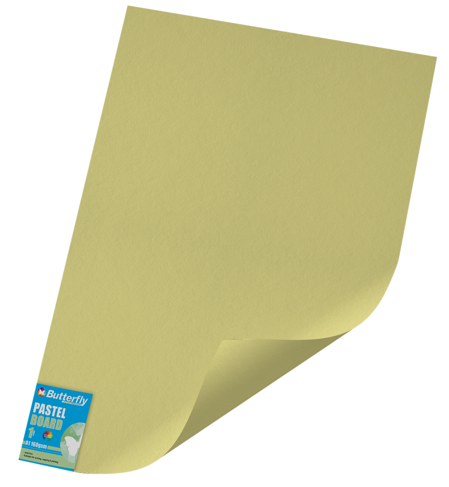 A1 Pastel Board - 160gsm Single Wrapped Yellow