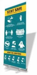 Covid19 Pull Up Banner with Print - Roll up banner sizing of 850*2000mm