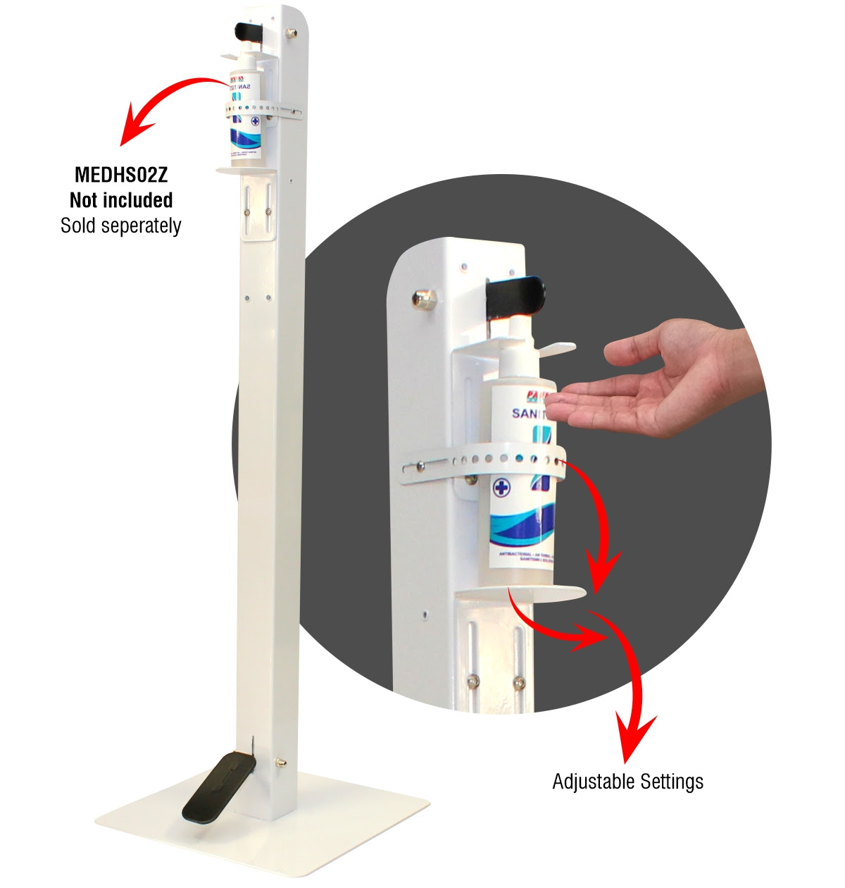 Free standing foot operational dispenser
