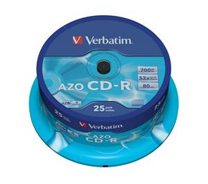 Verbatim CD-R 52x Speed 700mb Crystal Azo 25 Spindle