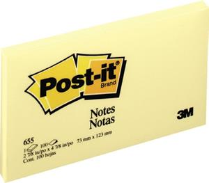 Post-It Note Pad 75mmx130mm Yellow