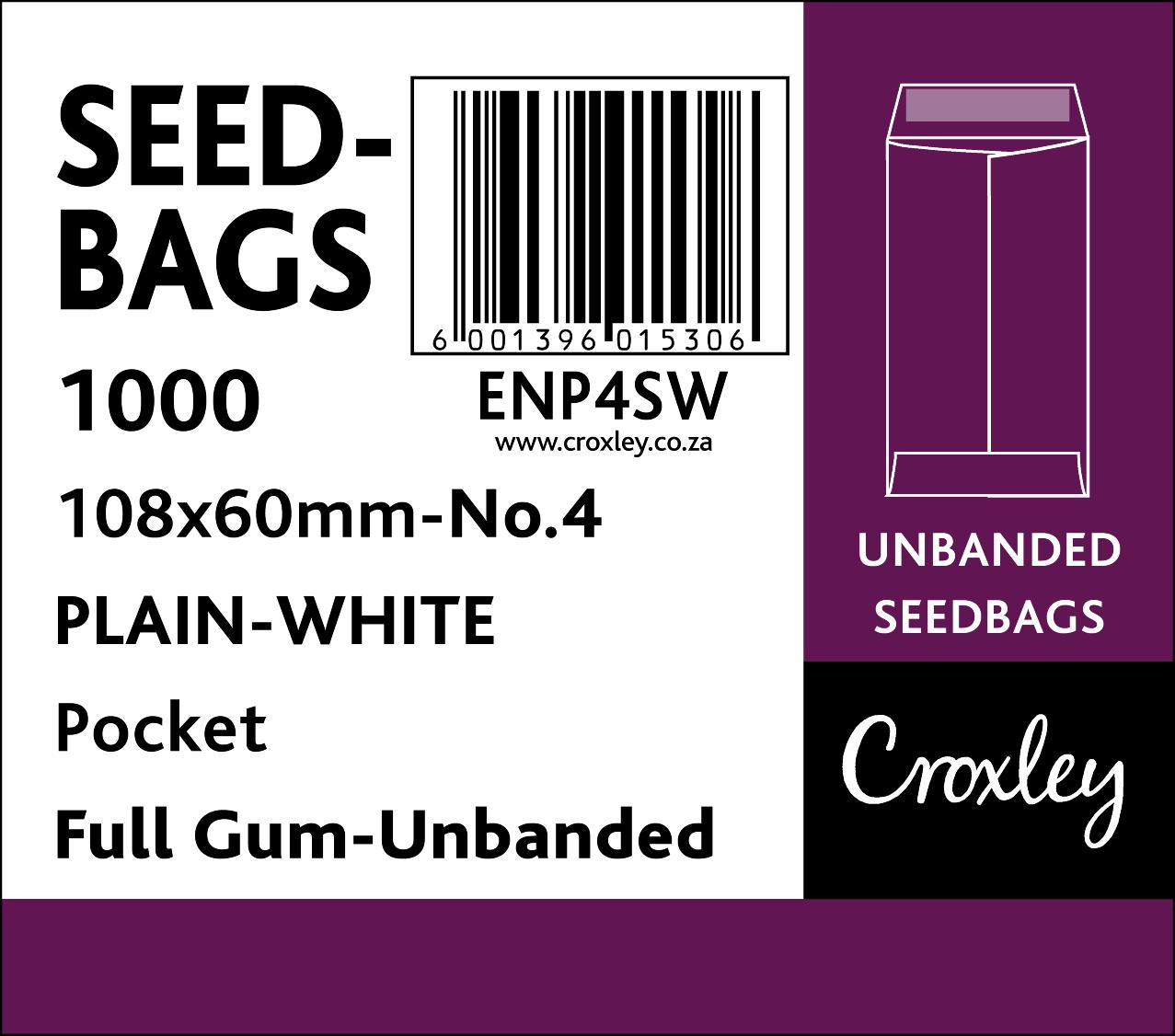 No.4 - Seed And Wage Pockets Croxley White (Summit White Wove) 108x60