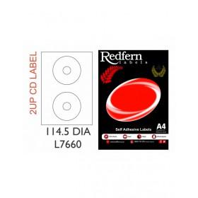 Redfern Laser Label 2UP CD (114.5 DIA) 7660