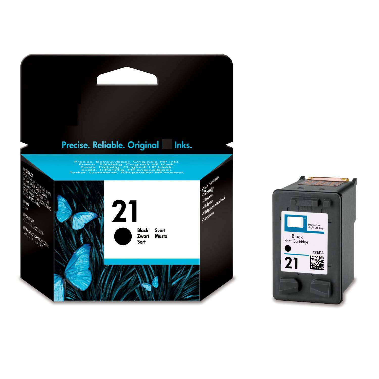 HP  No.21 Black Inkjet Cartridge; Up To 200 Pages @ 5%