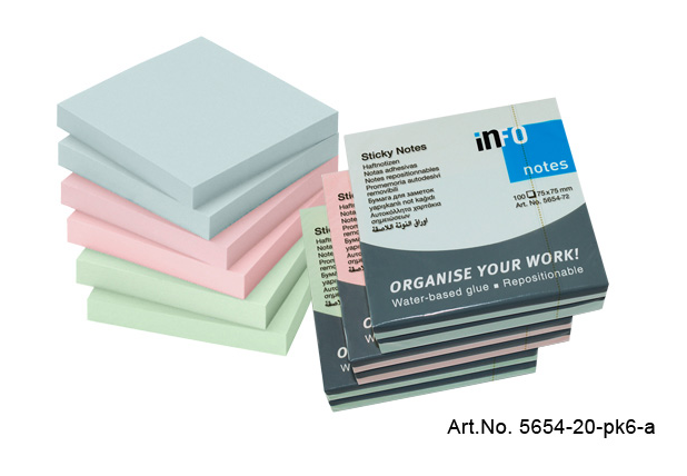 Info Notes 75mmx75mm Pastel 6 Per Pack