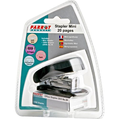 Parrot Staplers Plastic Mini Black + Staples (1000x26-6)