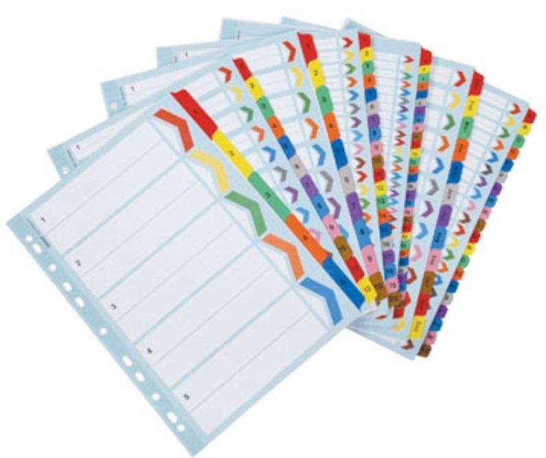Rexel 10 Tab Division Bright Board