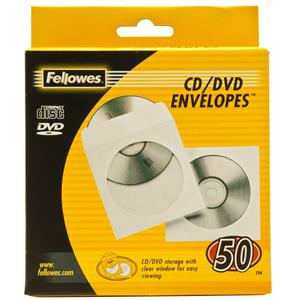 Fellowes CD-DVD Paper Envelopes White 50 Pack