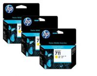 HP 711 3 PACK YELLOW INK CARTRIDGES FOR DESIGNJET T120  (29ML)